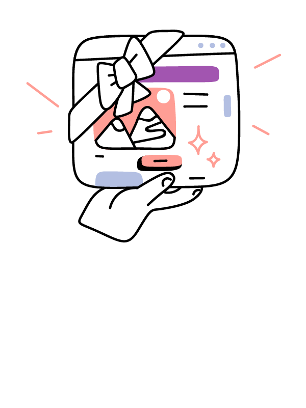 Illustration of a hand holding a web browser with a ribbon tied around it