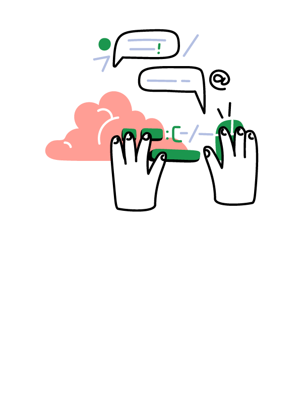 Illustration of a person messaging someone online