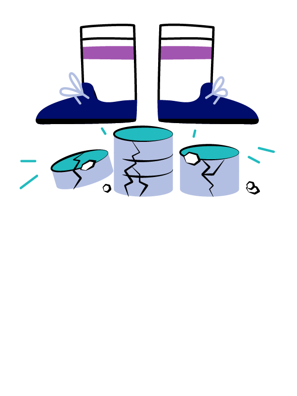 Illustration of someone stepping on a database