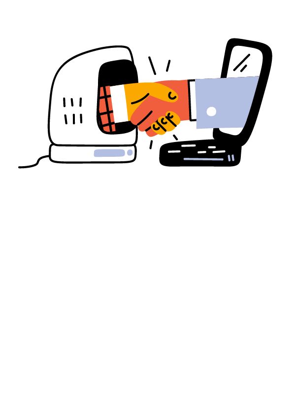 Illustration of two hands coming out of a computer screen shaking